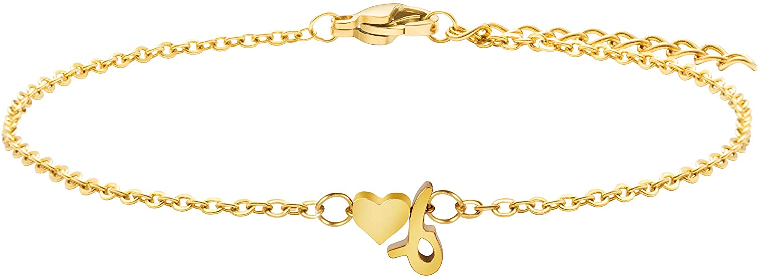 MEMGIFT Dainty Heart Lowcase Initial Letter 18K Real Gold Chain Bracelet Cute Tiny Personalized Birthday Gifts for Women Teen Girls Best Friend Sister Daughter Mom Bridesmaid Girlfriend Wife Fiancee