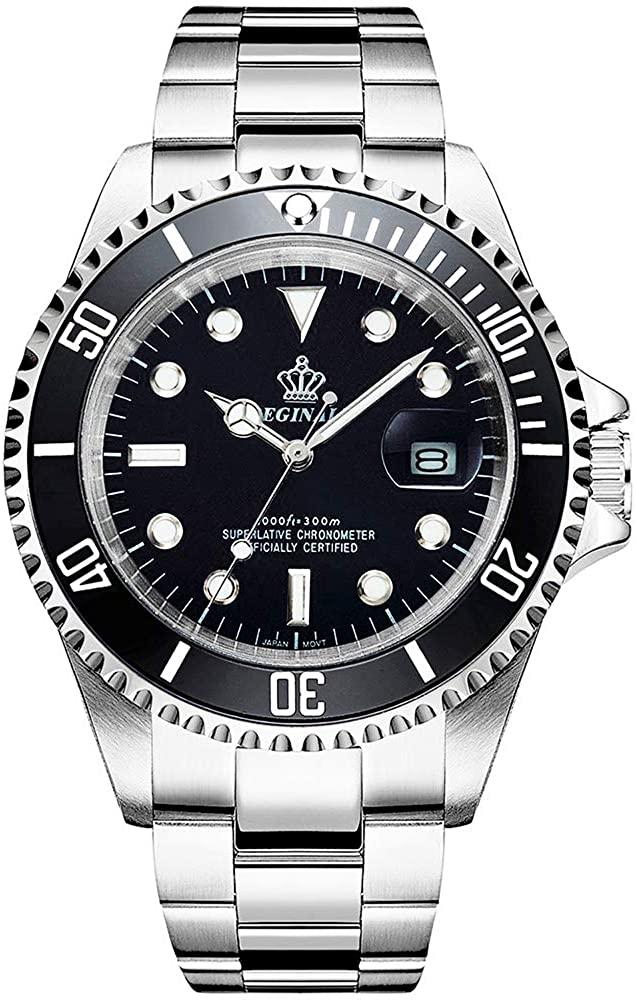 Men's Luminous Watch Rotatable Bezel Sapphire Glass Blue Dial Stainless Steel Quartz Watches 40M (Black)