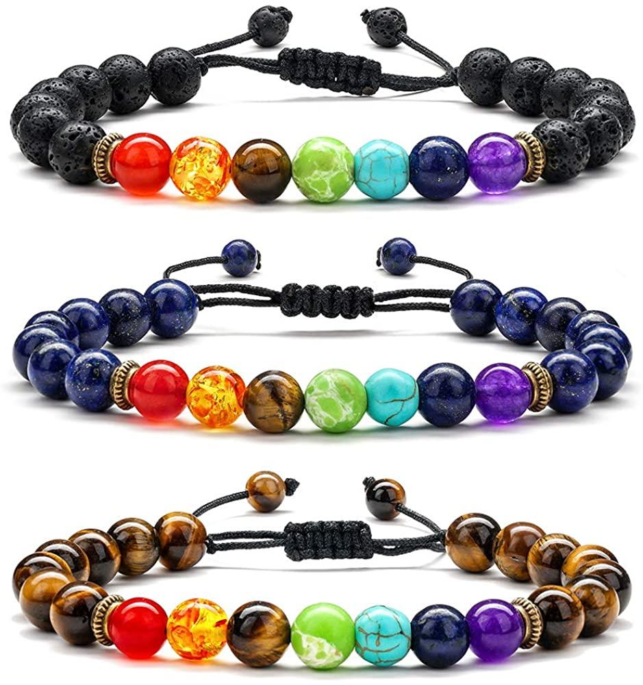 Chakra Bracelets for Women Men - 8mm Lava Rock Chakra Bead Bracelet for Women, 7 Chakras Healing Yoga Anxiety Bracelet Mens Bracelet Beads Aromatherapy Essential Oil Diffuser Bracelets Gifts for Women