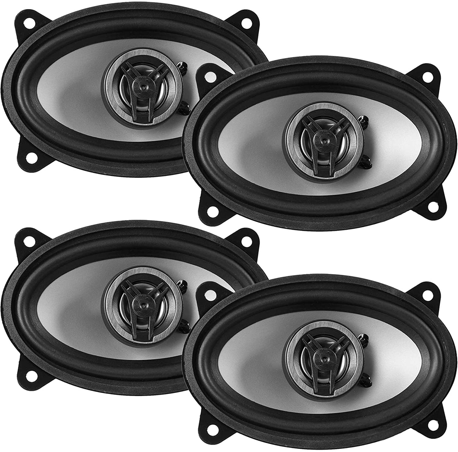 2 Pairs of (Qty 4) of Crunch 4x6 250W Max Power Coaxial 2-Way Full-Range Automotive Speakers