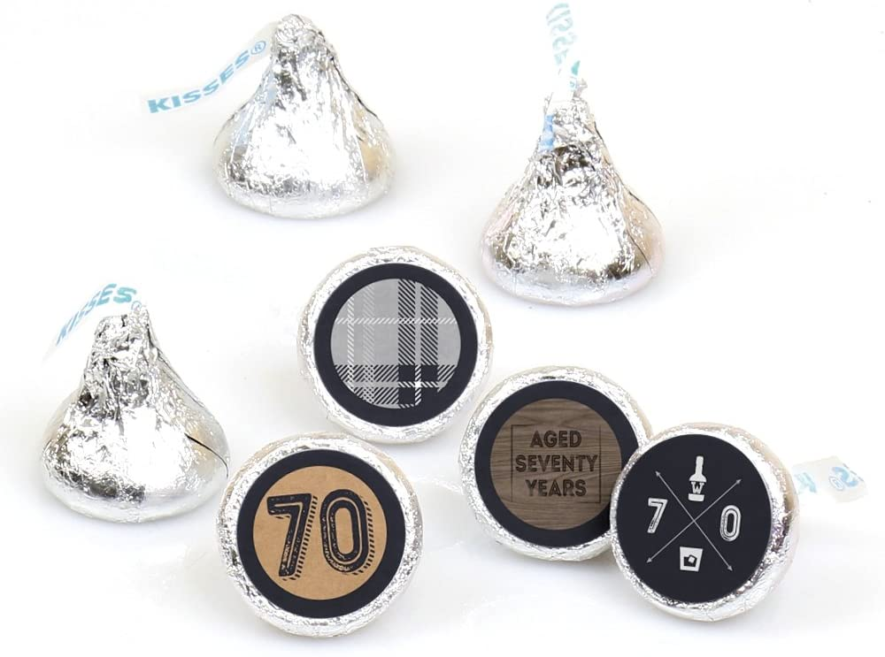 70th Milestone Birthday - Aged to Perfection - Round Candy Sticker Favors - Labels Fit Hershey's Kisses (1 Sheet of 108)