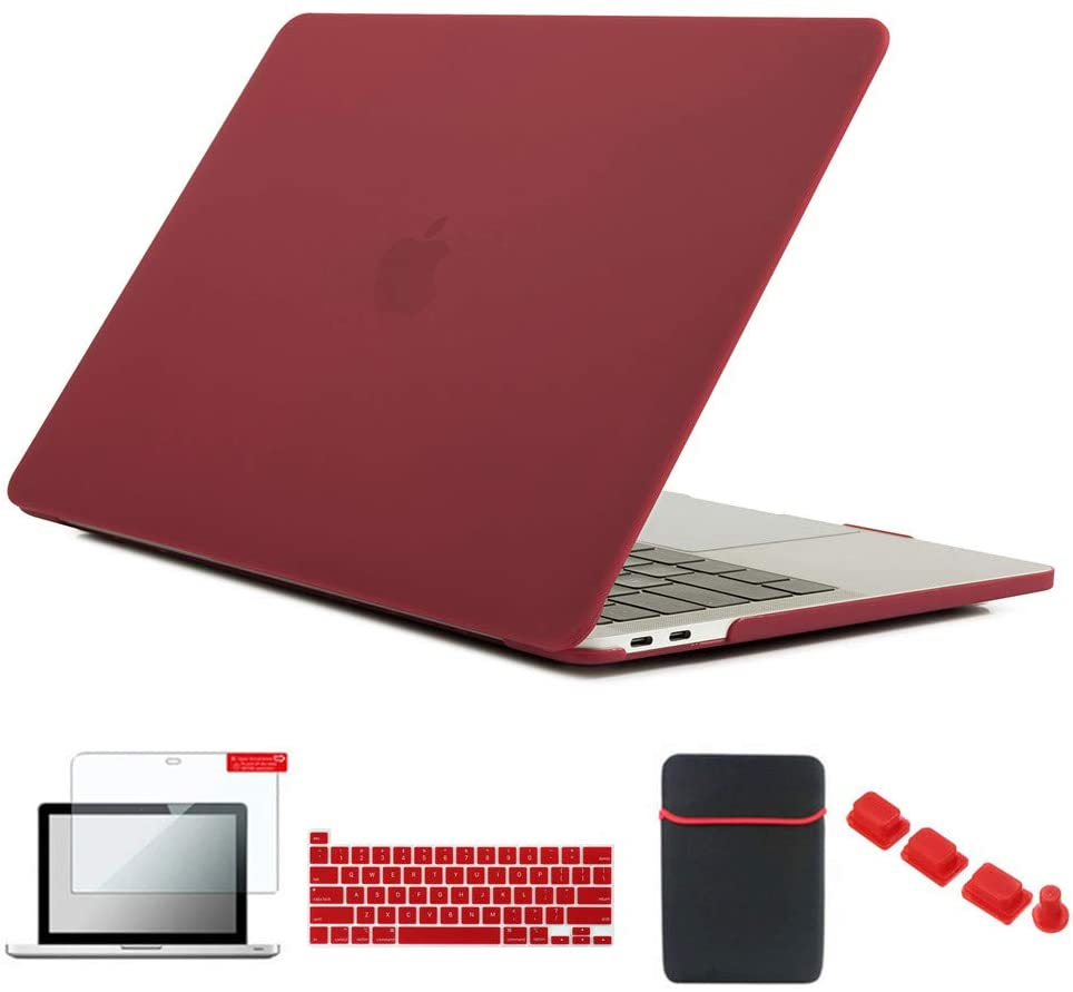 Se7enline 2020 Mac Book Pro 13 inch Case New Plastic Hard Laptop Cover for MacBook Pro 13.3-inch Model A2251/A2289 with Sleeve Bag, Keyboard Cover, Screen Protector, Dust Plug, Wine Red