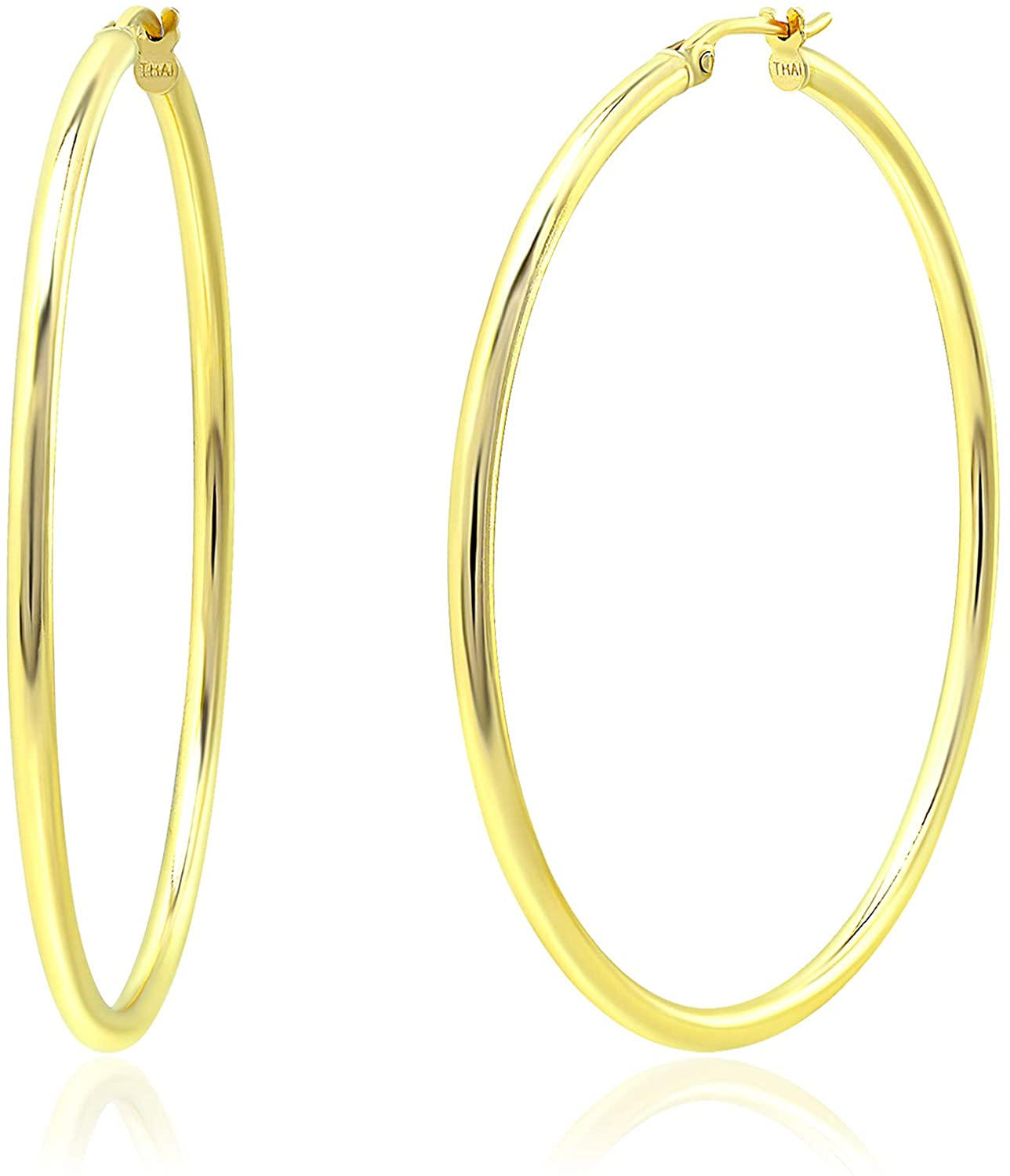 Michael Zweig Gold Flash Plated Sterling Silver Round Hoops Earrings with Click-Top Round Tube Size 2.0 mm Thick