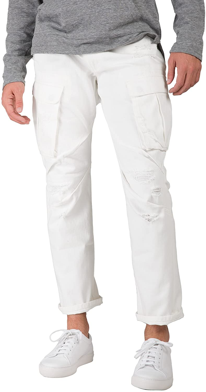 Level 7 Men's Premium White Jeans Slim Straight Distressed Cargo Side Pockets