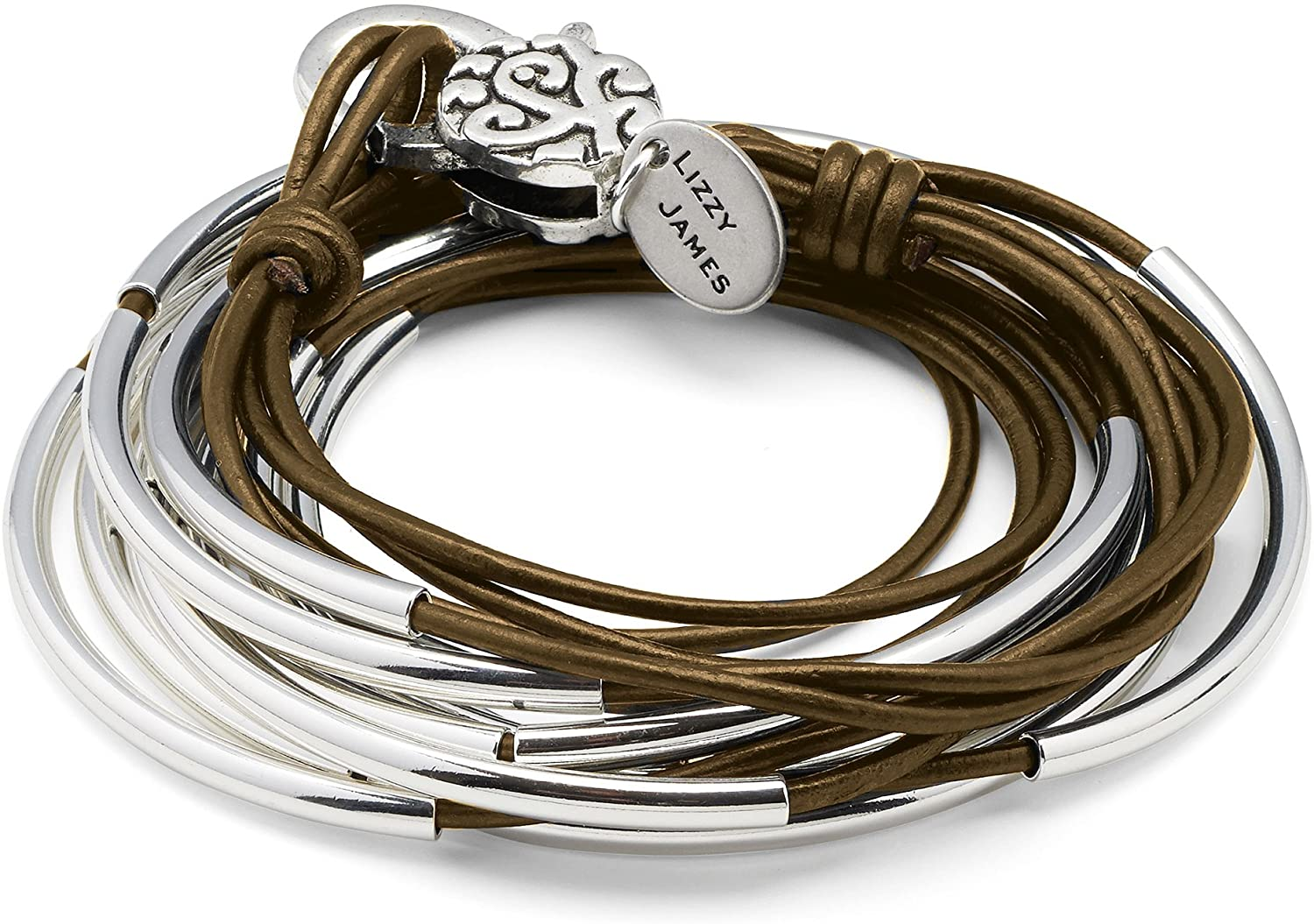 Lizzy Classic Metallic Bronze Leather and Silver Wrap Bracelet Necklace