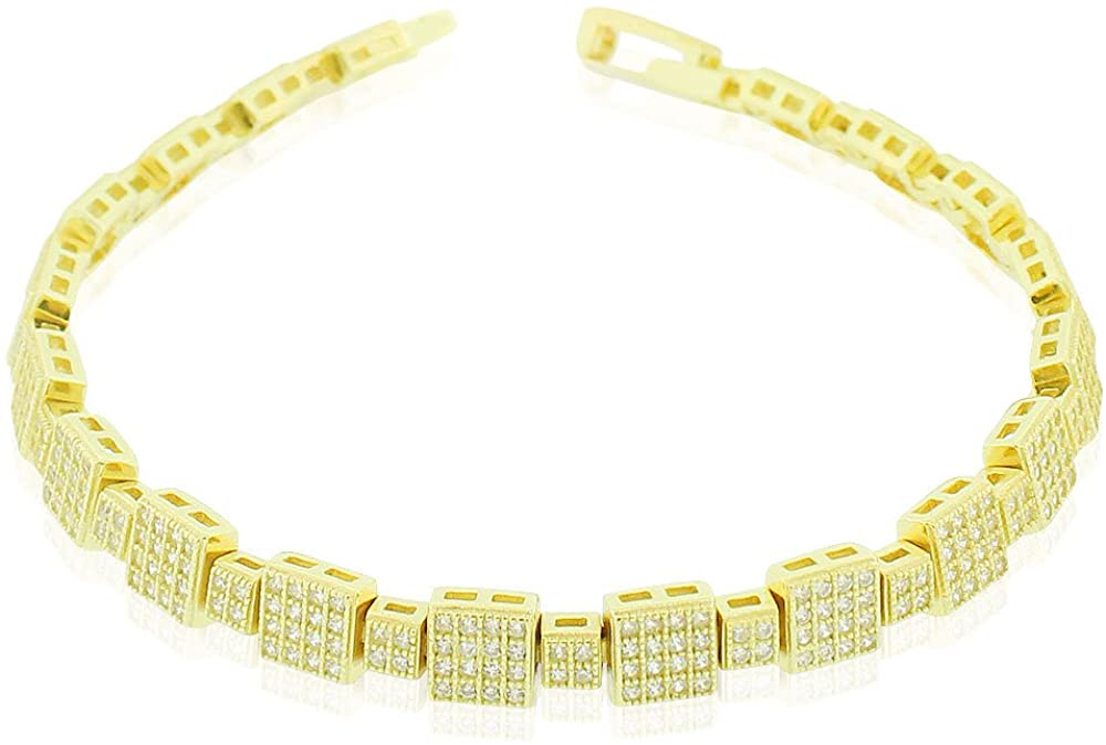 925 Sterling Silver Yellow Gold-Tone Clear Square CZ Tennis Bracelet, 6.75