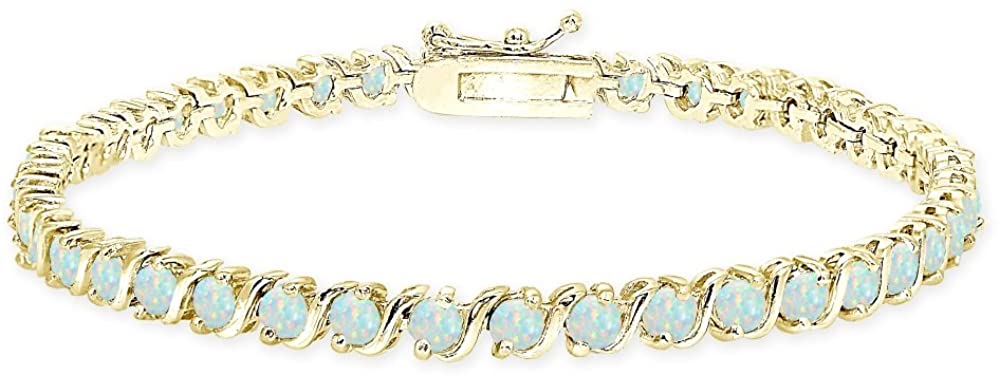 Sterling Silver Genuine, Created or Simulated Gemstone S Design Bar Classic Tennis Bracelet, Choose a Color