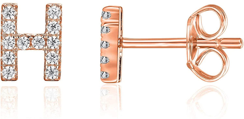 PAVOI 14K Rose Gold Plated Sterling Silver CZ Alphabet Letter Earrings   Initial Earrings for Girls