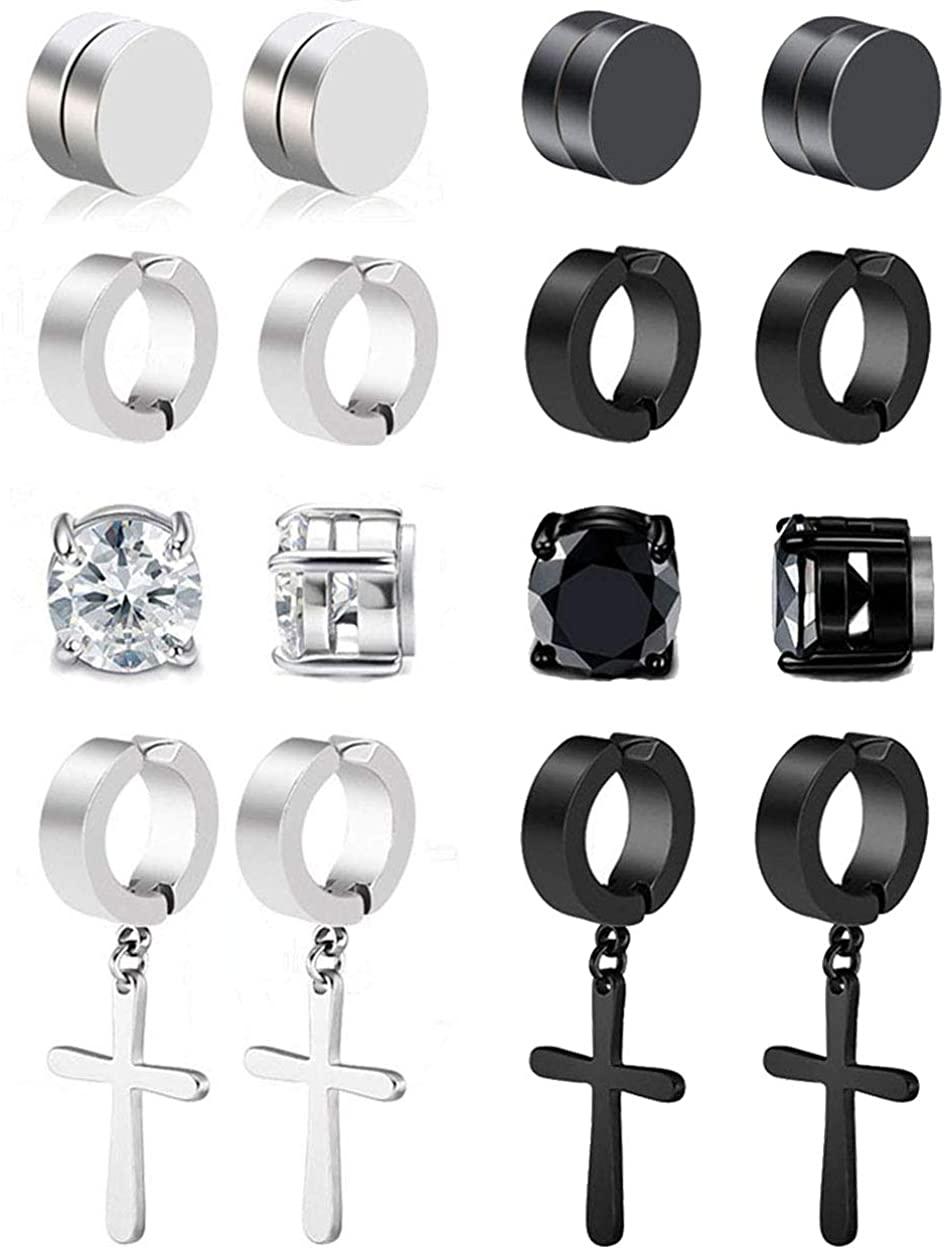 Jewdreamer 8 Pairs Stainless Steel Mens Womens Magnetic CZ Earrings Earrings Clip On Non-Pierced Dangle Earrings Set