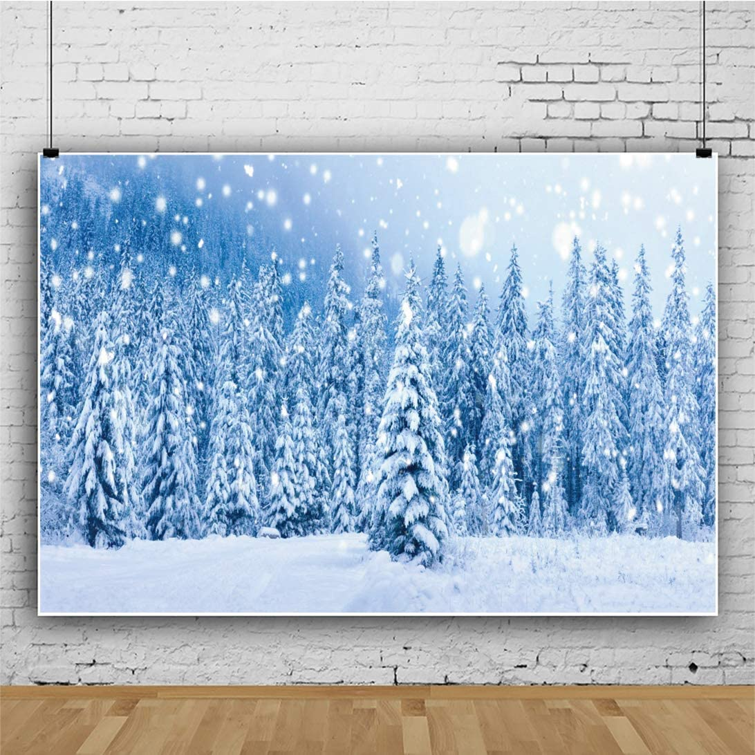 OERJU 9x6ft Frozen Forest Backdrop Light Halos Fall Snow Background Thanksgiving Day Decorations Merry Christmas Supplies Happy New Year Family Portrait Winter Theme Baby Shower Photo Studio Props
