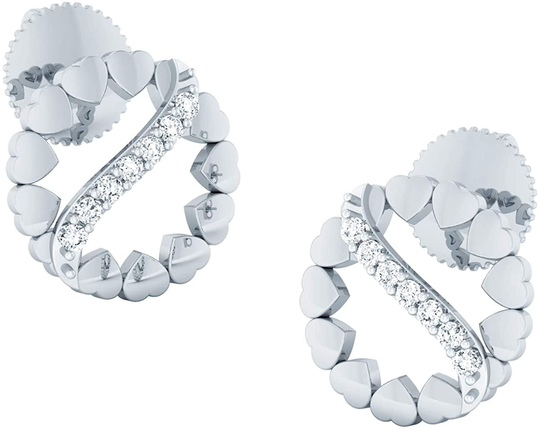 0.13 Carat Natural Diamond Earrings 10K White Gold Round-Cut (J-K Colour, SI Clarity) Diamond Stud Earrings for Women Diamond Jewelry Gifts for Women