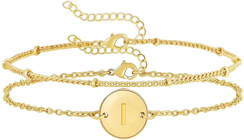 Layered Disc Initial Bracelets for Women 14k Gold Plated Personalized Letter Charm Bracelet Small Dainty Disc Monogram Name Bracelet for Women
