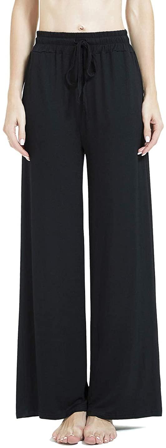 Aflowyii Womens Modal Pajama Pants Wide Leg Lounge Pj Bottoms Pockets Drawstring
