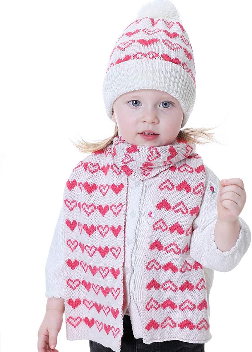 Tabpole 2pcs Kids Boys Girls Hat & Scarf Set Winter Knitted Crochet Warm Hat Neck Warmer for 1-4Y Kids