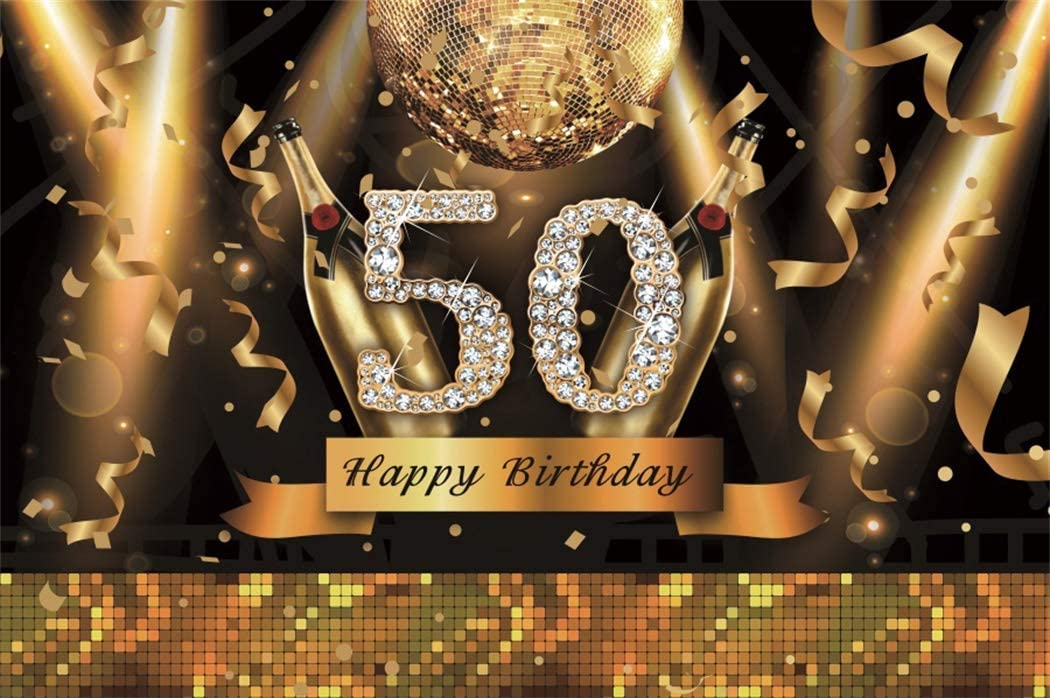 LFEEY 7x5ft Vinyl Photography Backdrop Happy 50th Birthday Golden Words Diamond Champagne Ribbon Sequin on Black Background 50 Years Old Birthday Party Decorations Photo Studio Prop