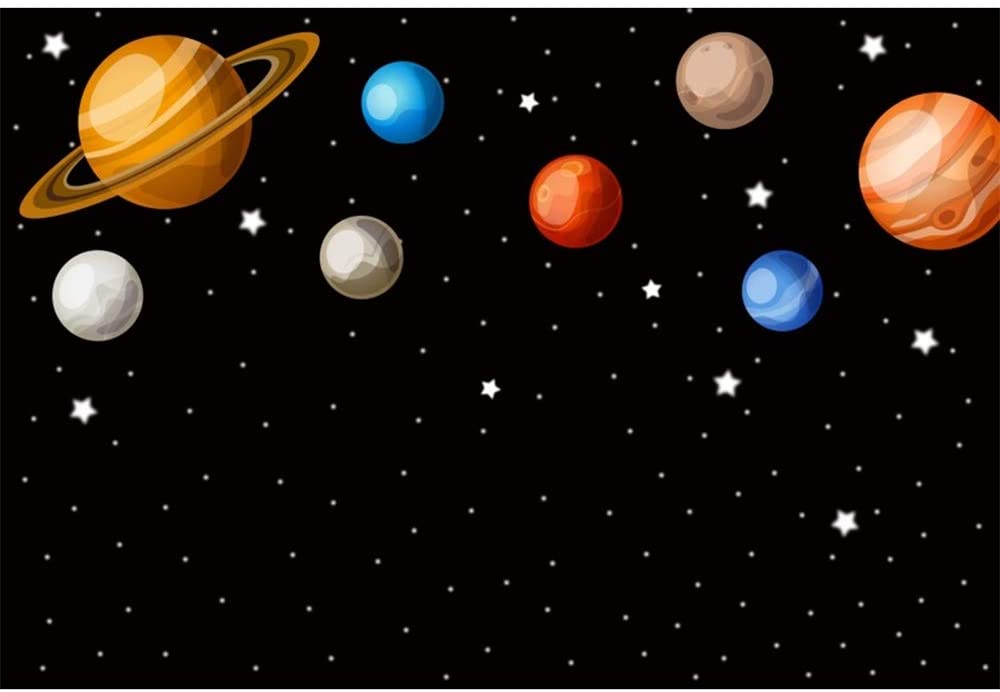 DORCEV 7x5ft Cartoon Planet Boys Baby Shower Backdrop Space Theme Boys Birthday Party Background Universe Planet Spaceship Astronomy Spaceman School Activity Pupils Shoots Video Props