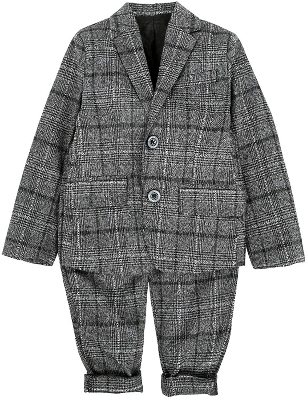 UWBACK Boys Suit 2 PCS Plaid Formal Slim Gray Blazer Suit Set Outwear Jacket for Boy