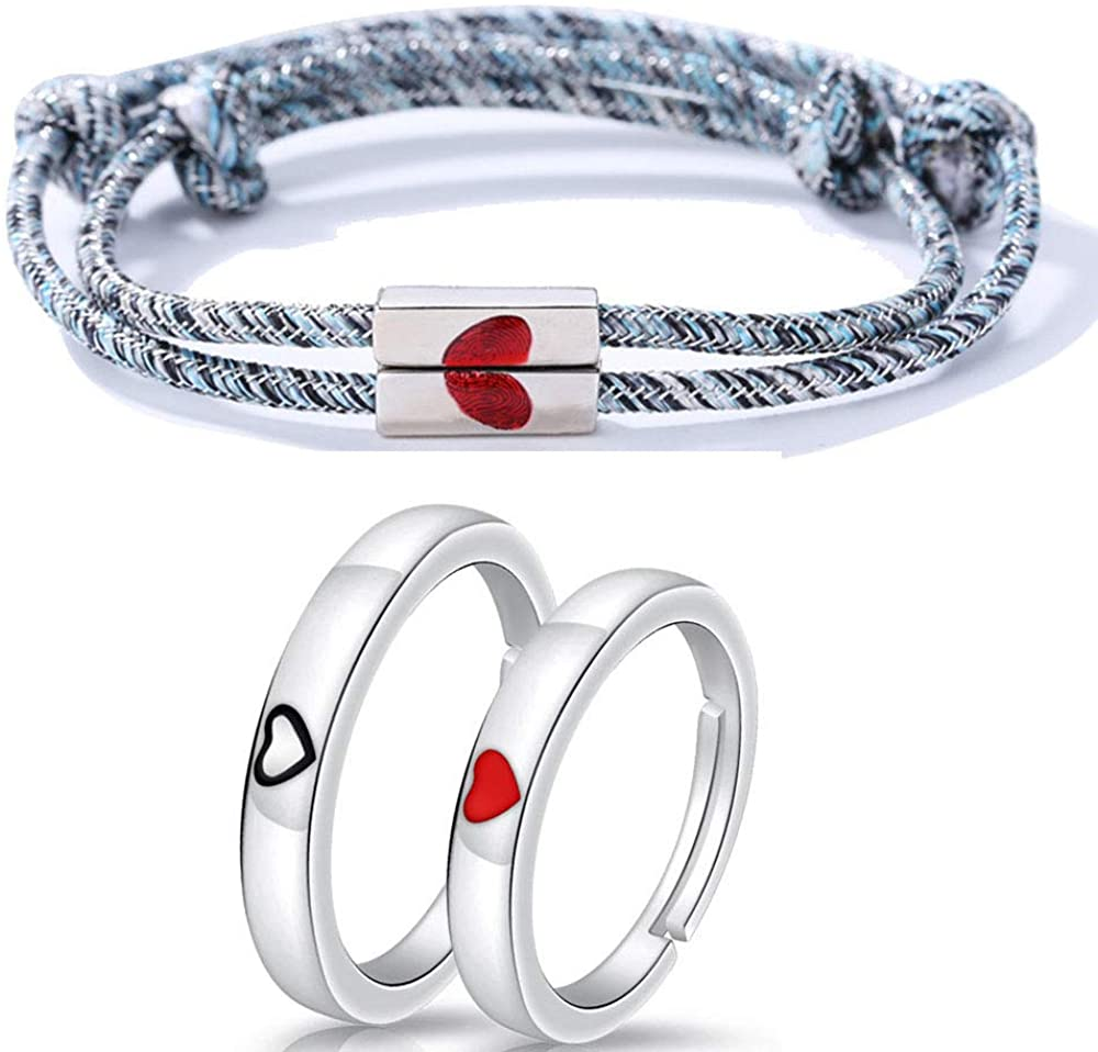 RENYILIN Heart-Shaped Lovers Bracelet and Ring Set, Hand-Woven red Heart-Shaped Lovers Bracelet, a Heart just for You Beat Simple Lovers Open Ring
