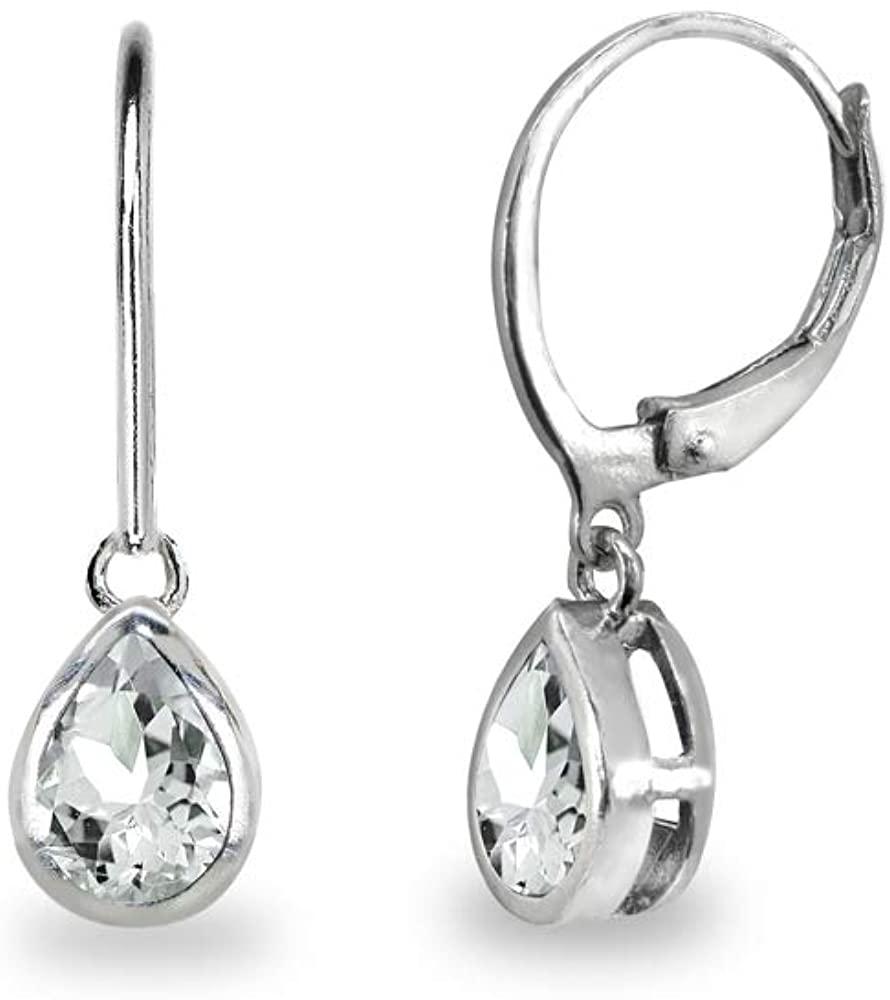 Sterling Silver Genuine or Synthetic Gemstone 7x5mm Teardrop Bezel-Set Dainty Dangle Leverback Earrings