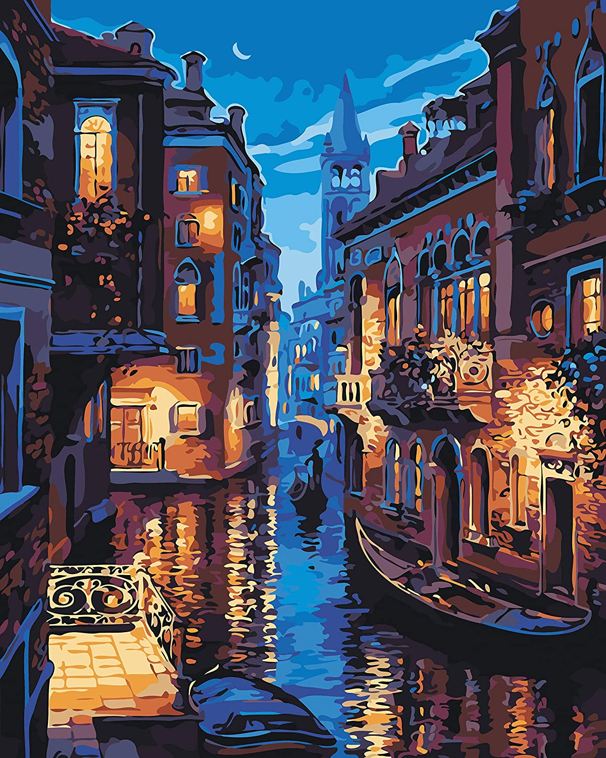 VIKMARI DIY Oil Painting Paint by Numbers Kit for Adults Painting by Numbers Kits Landscape DIY Paint by Number for Beginner Venice Night 16 x 20 inch (Without Frame)