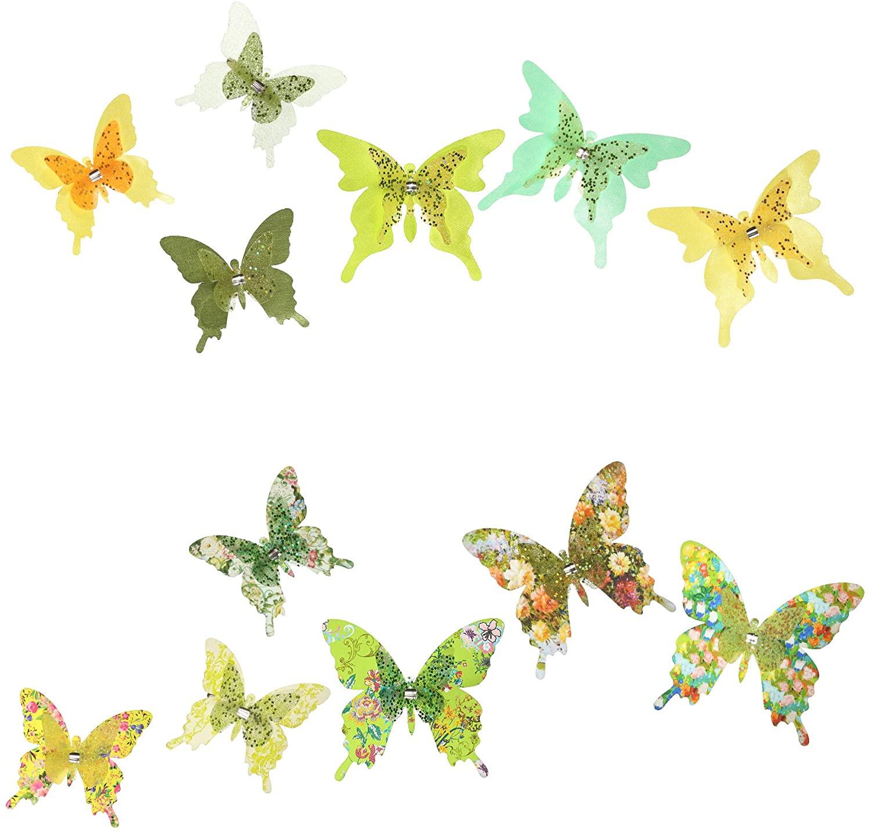 Roser Life Craft Butterflies⎮Decorative Artificial Butterfly Clips⎮Silk Fabric Butterfly Decorations⎮Floral Butterflies⎮Handmade Vintage Ornament⎮Home Party Garden Outdoor Decor Green (Pack of 12)