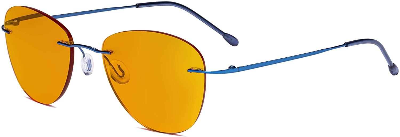 Eyekepper Computer Reading Glasses Blue Light Blocking with Orange Tinted Filter Lens for Nighttime Sleeping -Rimless Pilot Readers Anti UV Rays Glare Women,Blue +1.50