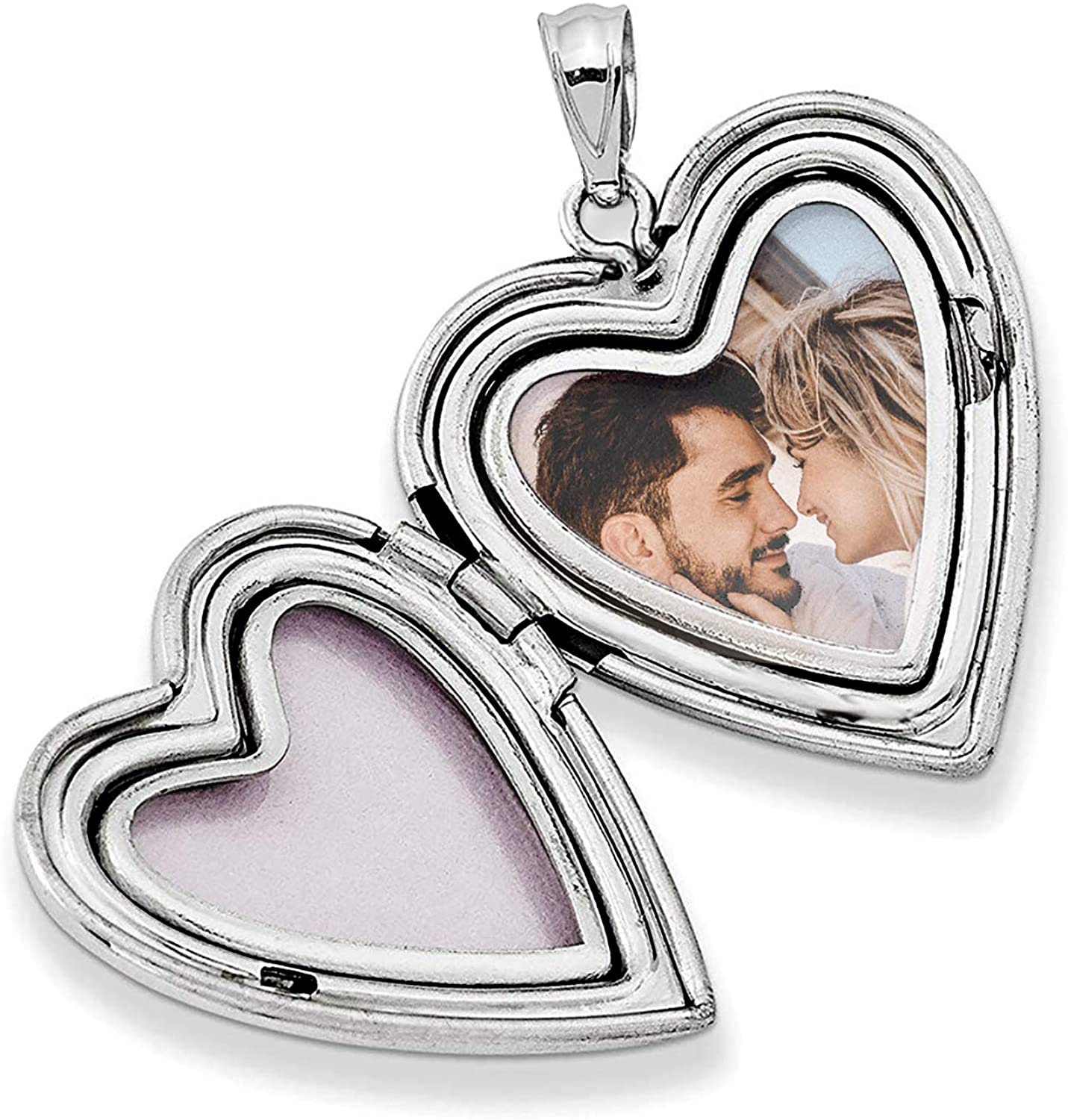 Sterling Silver 24mm Swirl Flower Love Heart Photo Locket Holds Picture Pendant Necklace, Custom Pesonalized Photo + Text