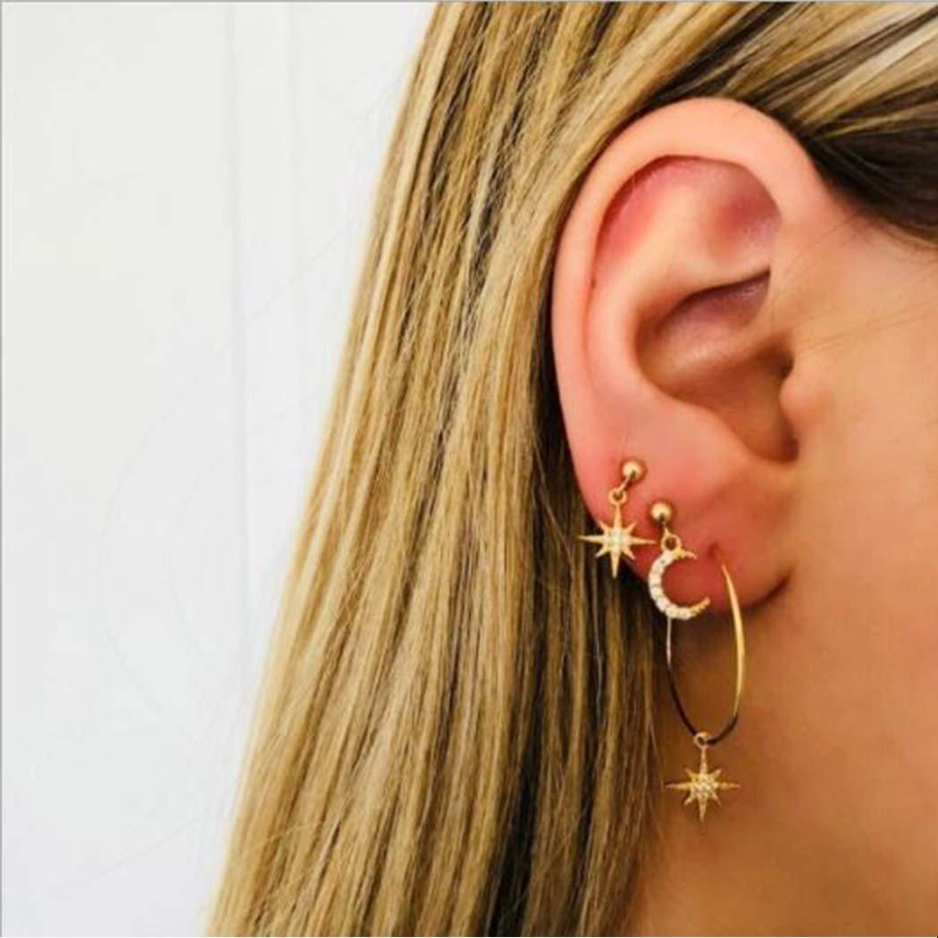 Boaccy Crystal Earrings Ear Climber Earring Set Star Moon Drop Ear Jewelry for Women and Girls