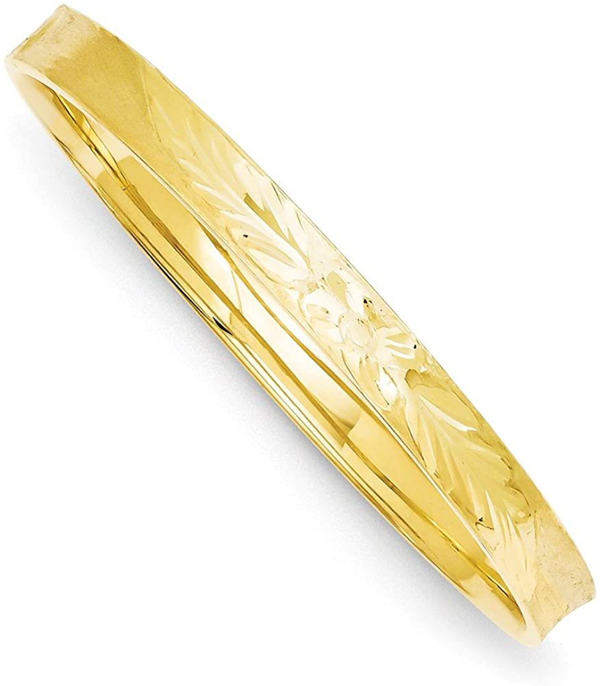 Black Bow Jewelry 6mm 14k Yellow Gold Diamond Cut Concave Hinged Bangle Bracelet, 7 Inch