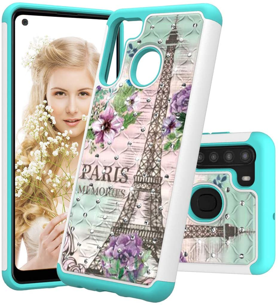 LEMAXELERS Samsung A21 Case 2 in 1 Bling Glitter Hard PC Shockproof Case Soft TPU Bumper Anti-Scratch Protection Slim Cover for Samsung Galaxy A21(US Version) Diamonds 2 in 1 Flower Tower YB