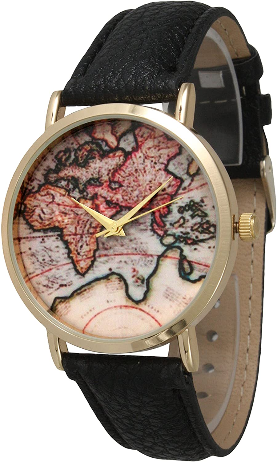 Leather Strap Watch with Map Print Gold Tone