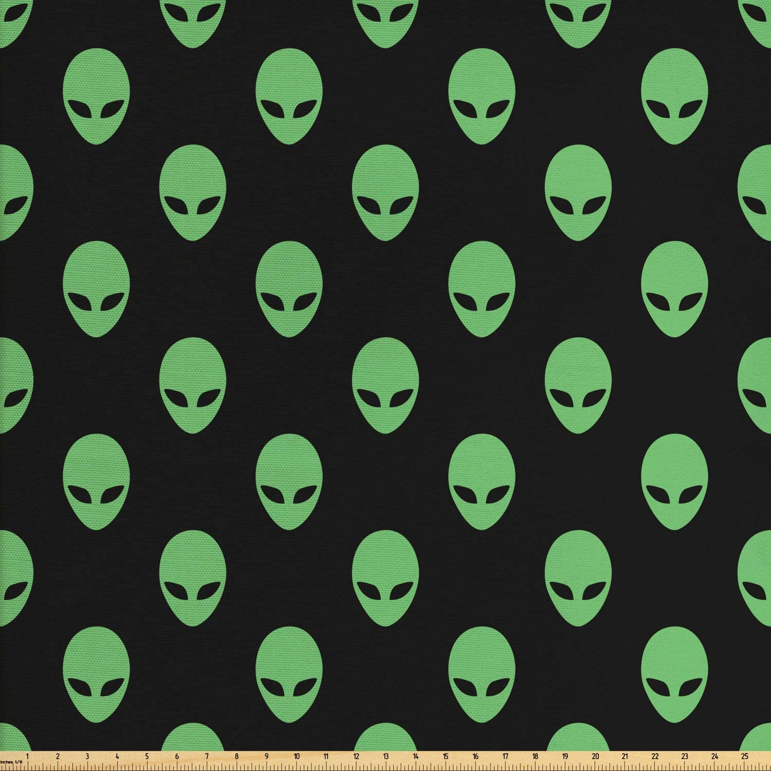Ambesonne Alien Fabric by The Yard, Supernatural Martiansal Beings from Other Planets Head of an Alien, Decorative Fabric for Upholstery and Home Accents, 1 Yard, Fern Green