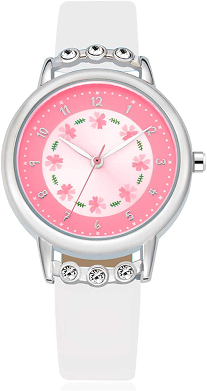 WUTAN Girls Watch Adorable Leather Strap Wrist Band Flowers Dial with Diamond Cute Watch for Girls Casual Waterproof Wristwatches for Kids Reloj para Niños Niñas