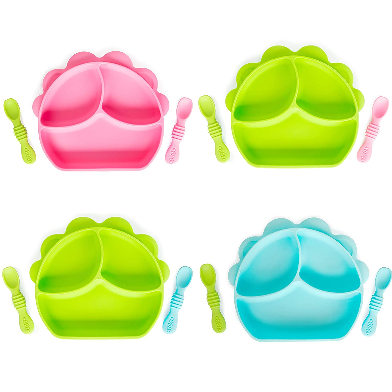Cuddle Affects Silicone Baby Plate with 2 Soft Self-Feeding Spoons for Babies with Gum-Friendly Teethers - Waterproof Non-Slip Infant Newborn Toddler Utensil Set for Self-Training (Variety of Colors)