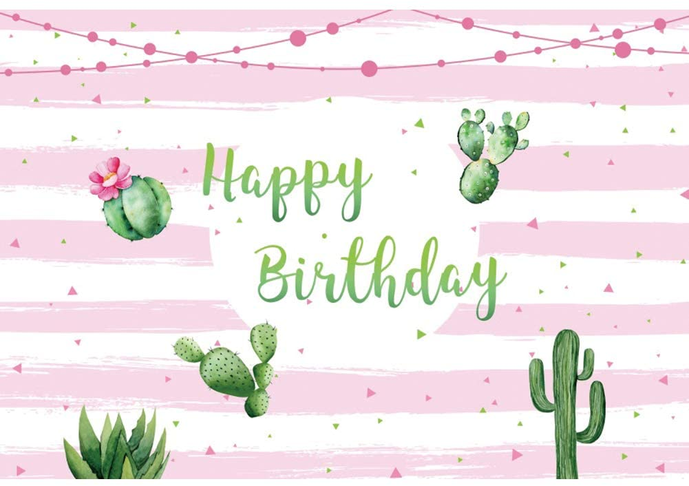 DORCEV 5x3ft Happy Birthday Backdrop for Girls Birthday Party Baby Shower Event Photography Background Cartoon Cactus White Pink Stripe Kids Adults Birthday Photo Video Studio Props