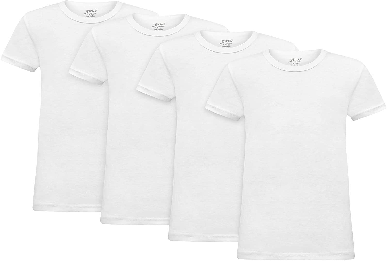 Brix Short Sleeve Tees for Boys - Crewneck Cotton – Slim fit Tagless Plain t-Shirts.
