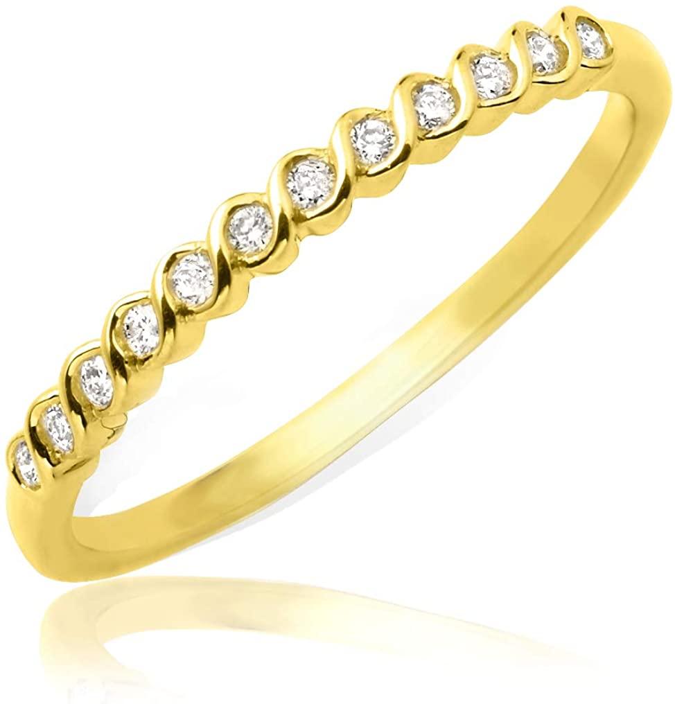 LoveBling 0.15 Carat (ctw) Designer Diamond Stackable Band in 14 Karat (K) Yellow Gold Ring (size 5)