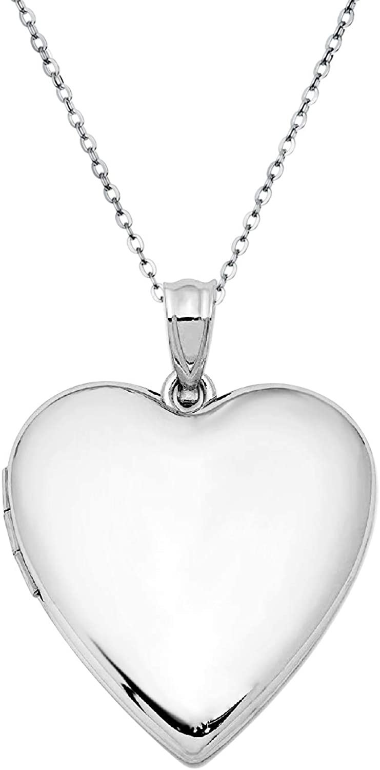 Sterling Silver 24mm Love Heart Locket Holds Picture Pendant Necklace