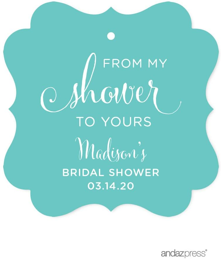 Andaz Press Personalized Baby and Bridal Wedding Shower Frame Party Favor Gift Tags, from My Shower to Yours, Diamond Blue, 24-Pack, Custom Name