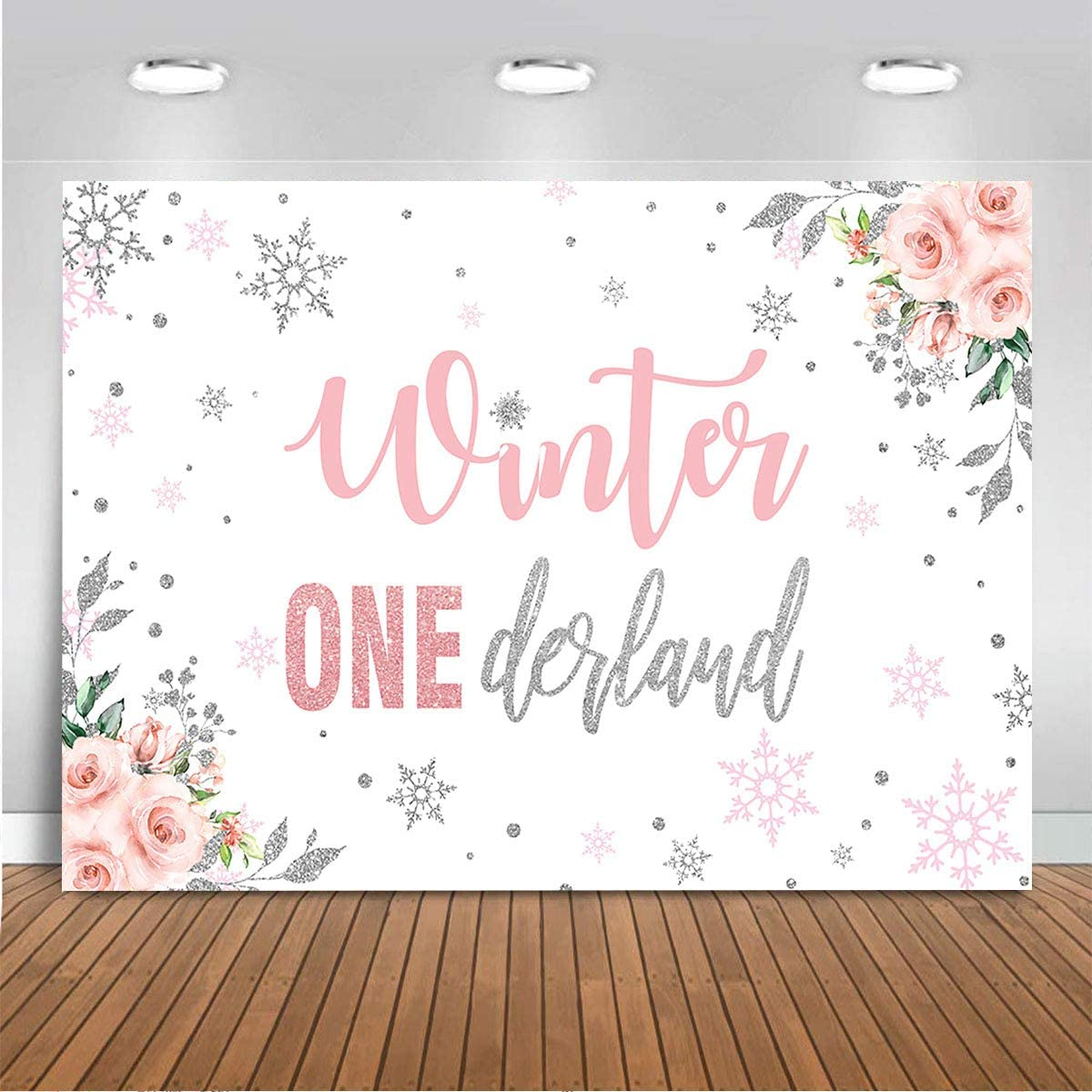 Mocsicka Winter Onederland Photography Backdrop for Girls Pink Winter Wonderland Snowflake Floral Birthday Party Decoration Princess 1st Birthday Cake Table Decor Banner Supplies (5x3ft)