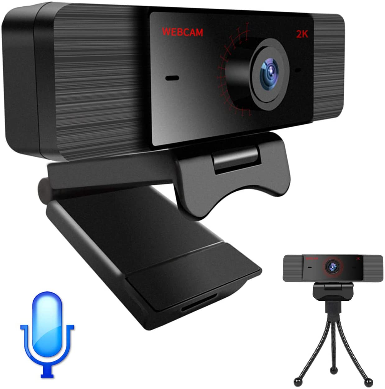 Webcam with Microphone for Computer Laptop with Privacy Cover and Tripod, 1080P Computer Streaming Web Camera with Built-in Mic, Rotatable USB PC Webcam for Video Conference, Webcast, Podcast, Gaming