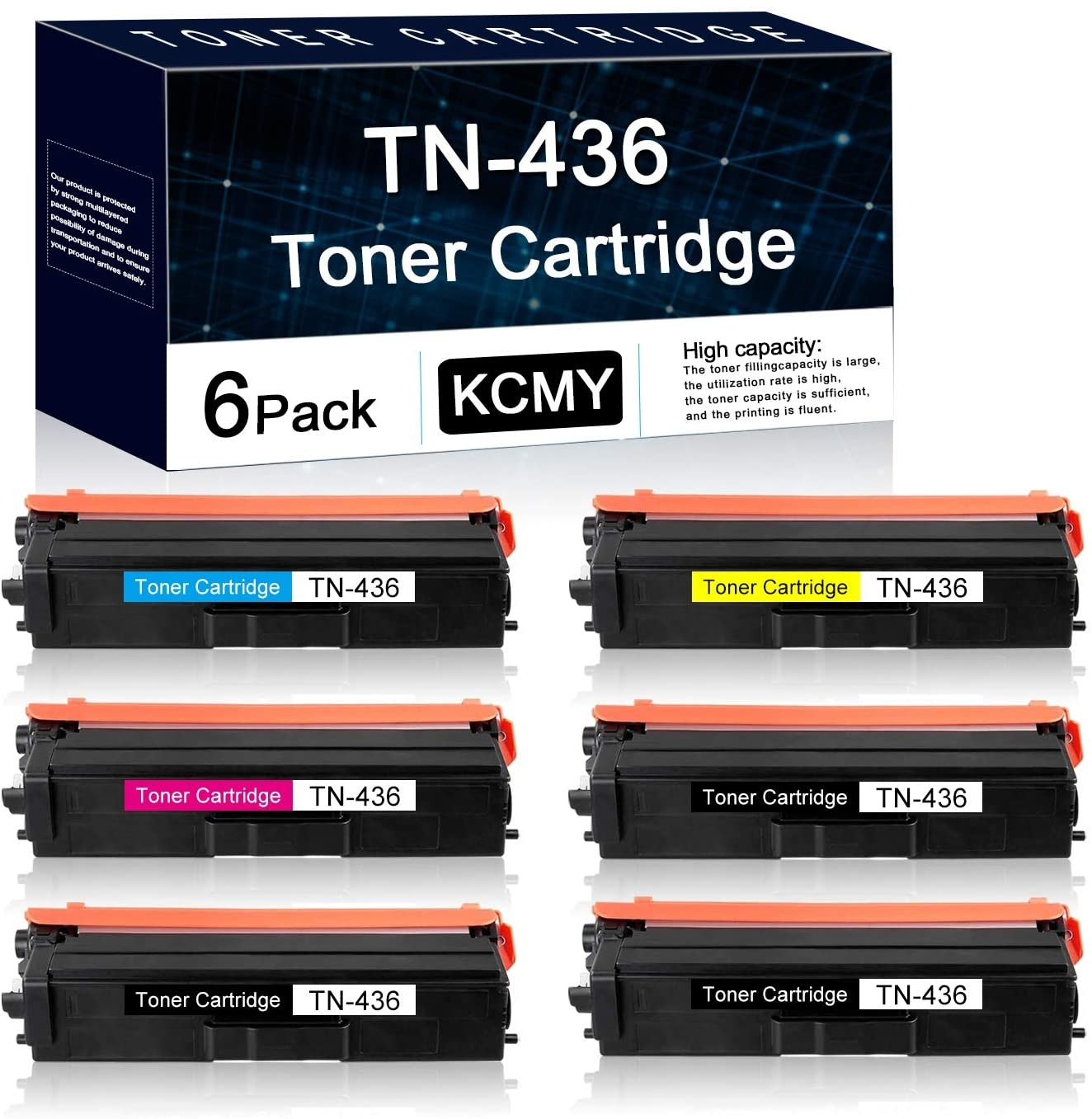 6 Pack TN436 (3BK+1C+1M+1Y) Compatible Toner Cartridge Replacement for Brother HL-L8260CDW L8360CDW L8360CDWT L9310CDW L9310CDWT L9310CDWTT DCP-L8410CDW MFC-L8610CDW Printers Toner
