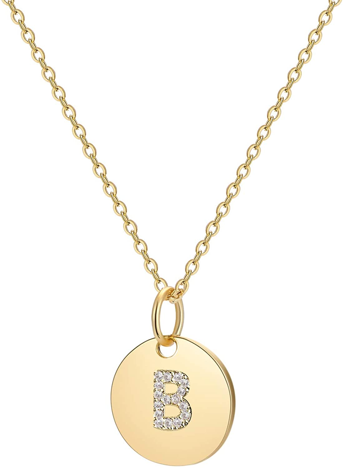 Initial Necklace Dainty Round Disc Letters Alphabet Pendant Necklace 14K Real Gold Plated Personalized Pendant Necklace for Women