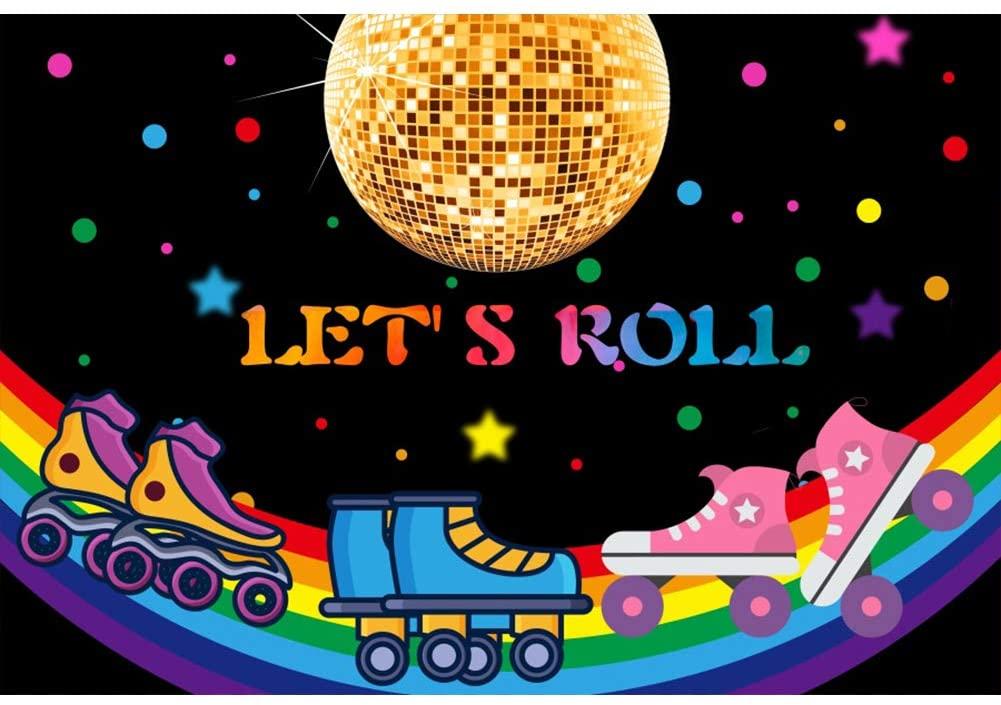 Leowefowa 10x8ft Vinyl Photography Backdrop 70s 80s Disco Ball Lets Roll Roller Skates Rainbow Disco Birthday Background Event Party Decoration Portrait Photo Shoot Studio Photo Booth Props