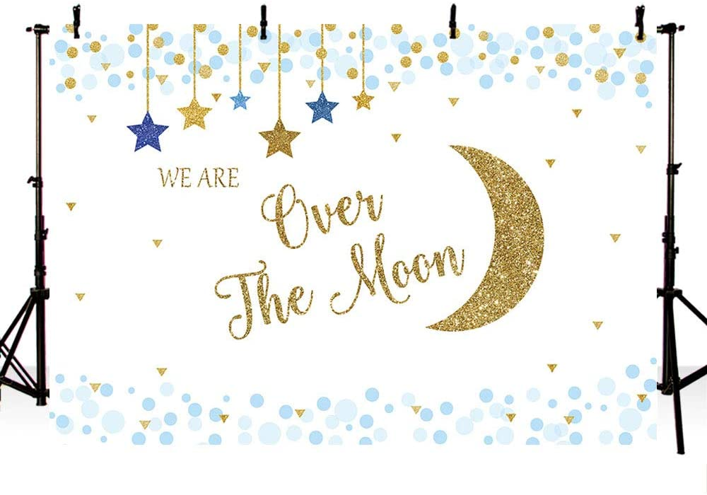 MEHOFOND Over The Moon Boy Baby Shower Photo Background Gold Blue Hanging Stars Party Decoration Banner It's A Boy Twinke Star Baby Shower Backdrops for Photography 7x5ft