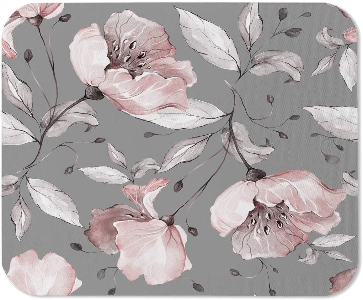 Yeuss Flower Rose Mouse Pad Rectangular Non-Slip Mousepad, Pattern with Spring Flowers and Leaves Floral Pattern of Fabric Flower Rose Gaming Mouse Pads, Pink Grey,200mm x 240mm
