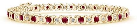 S Curl Ruby and Diamond Tennis Bracelet (2.5mm Ruby)