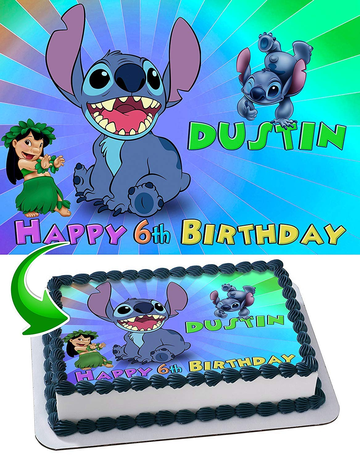 Stitch Edible Image Cake Topper Party Personalized 1/4 Sheet