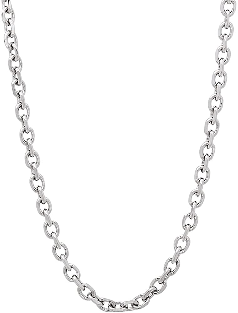 The Bling Factory 3mm High-Polished Stainless Steel Cable Chain Necklace, 18'-24