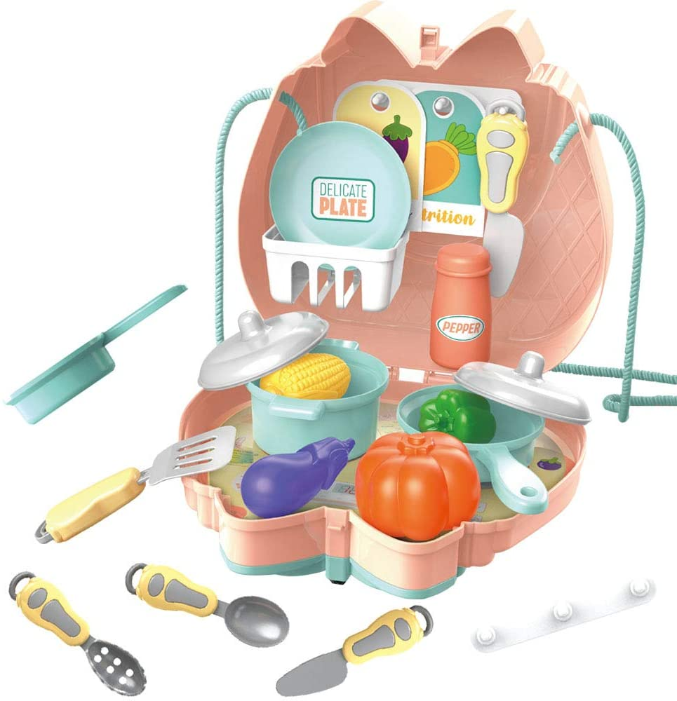 Kitchen Play Set for Girls Convenient and Safe Play Kitchen for Toddlers Bag Outdoor ,Preschool Kitchen Toy Toys for 3 Year Olds